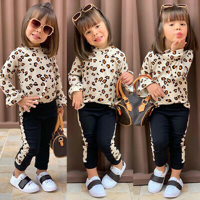 US Toddler Kids Baby Girls Winter Clothes Leopard Print Tops+Long Pants Outfits