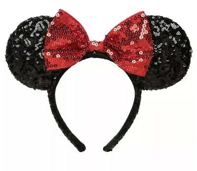 Disney Parks Authentic Minnie Mouse Black Sequins Ears Red Bow Headband EUC