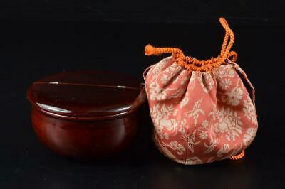 E1521: Japanese Wooden Lacquer ware Shapely TEA CADDY Chaire Container Shifuku