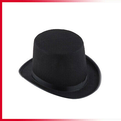 Adult Deluxe Black Top Hat Topper Victorian Ringmaster Lincoln Fancy Official UK