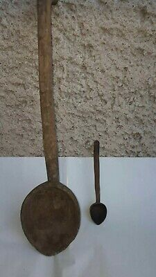 Antique Primitive Old Large Wooden Handmade Carved Spoon Ottoman Empire