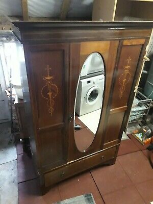 Attractive Antique Victorian Oval Mirrored Mahogany Marquetry Inlaid Wardrobe