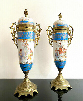 Beautiful pair of antique french Blue Sevres covered vases 19th century rare
