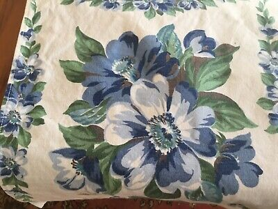 vintage fifties cotton print tablecloth, flowers, blue, green 46 x 56