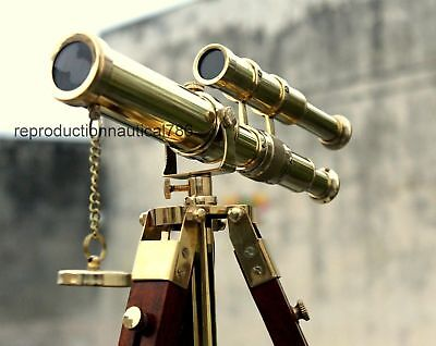Vintage Brass Telescope With Tripod Antique Design Double Barrel Nautical Scope