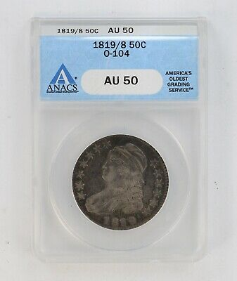 AU50 1819/9 Capped Bust Half Dollar - ANACS 475 Graded *8306