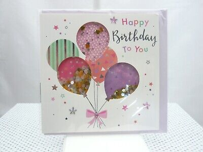 Happy Birthday to you carte relief paillettes coeurs Ballons