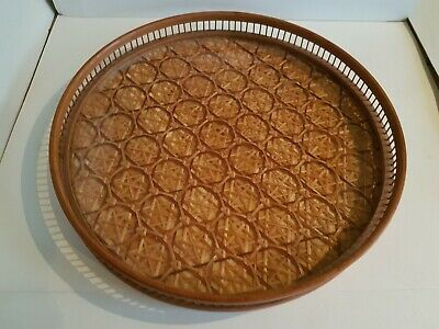 Retro mid century round drinks tray woven rattan teak gallery and perspex base