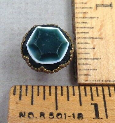 SHEET OVERLAY, Antique Layered GLASS BUTTON, Green/White/Green, Set in Brass