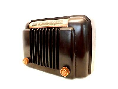 VINTAGE 1940s OLD ART DECO BENDIX MARBLED BROWN ANTIQUE BAKELITE RADIO NO CRACKS