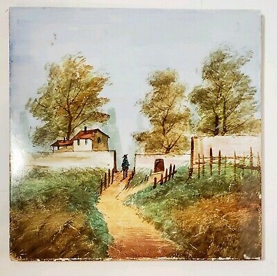 "CREIL & MONTEREAU TILE French Countryside Homes Trees Man 8"" faience"