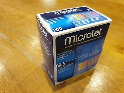 New Microlet Lancets Pack of 200 coloured silicone coated lancets