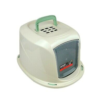 Green Cat Home Animal Pet Toilet Potty Sifting Litter Tray Box with Hooded Lid