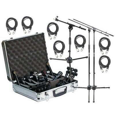 Audix DP7 Microphone Kit with Mic Cables, Tall and Short Mic Stand with Boom NEW