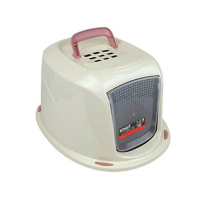 Smart Choice Pink Cat Home Pet Toilet Sifting Litter Tray Box with Hooded Lid
