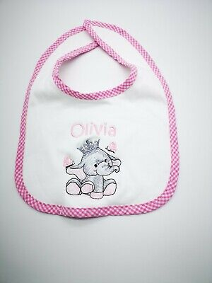Personalised  gingham Embroidered Baby, Toddler, Bib, ANYNAME Gift, Baby Shower,