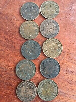10 Canadian One Cent Coins 1887 2-1903 1906 1909 1912 2-1913 2-1916