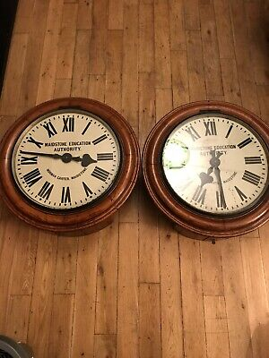 "Pair Of Large Mahogany Wall Station Clocks 25"" Maidstone Norman Carter 64cm X 2"