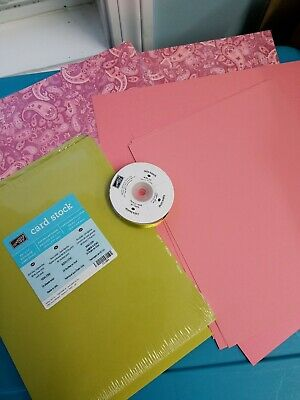 Lot of Stampin UP RASPBERRY TART DSP, Card Stock, and Ribbon New