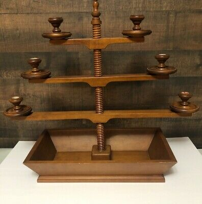Tell City Chair Co 3 Tiered Candle Holder Maple Candelabra W/ Tray # 3110