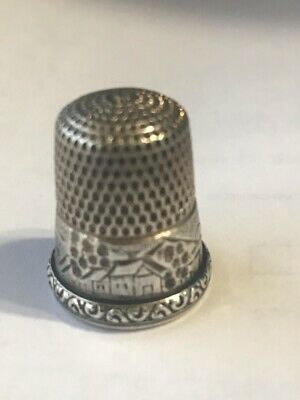 Antique Simons Brothers Sterling Silver Thimble House Trees Mountain Sz 9 1890's