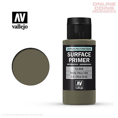 Vallejo 73.608 Surface Primer - OLIVE DRAB 60ml Bottle