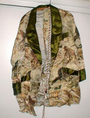 AMAZING Japanese Kimono Robe Jacket w/Tiger-Eagle-Minka Made in Japan w/Sash