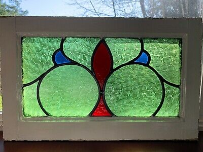 "ANTIQUE OLD ENGLISH STAINED GLASS WINDOW WOOD FRAMED 20"" x 12.5"" x 1.75"" VG"