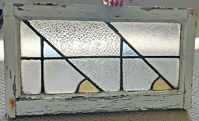 "ANTIQUE OLD ENGLISH STAINED GLASS WINDOW WOOD FRAME 24"" x 13.25"" x 1.75"""