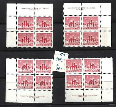 CANADA '64 XMAS M/S OF PLATE BLOCKS #1 SCOTT 434i VF MINT NH (BS14935)