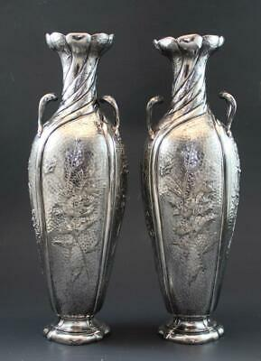 Antique Art Nouveau Japanese Aesthetic Pr of Silver Plate Vases w/ Floral Motif