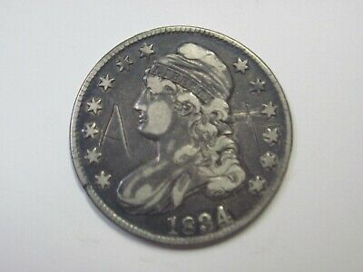 Circulated Uncertified Early Silver 1834 Capped Bust Half Dollar Ungraded