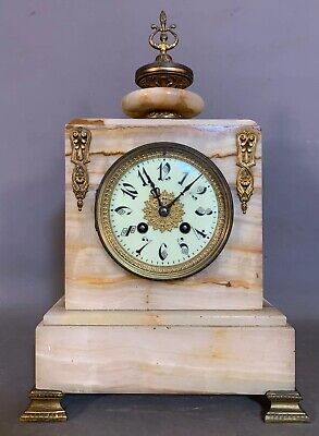 Ca.1900 Antique ART NOUVEAU Era FRENCH JAPY FRERES Old ALABASTER MANTEL CLOCK
