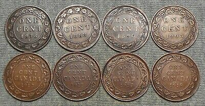 Lot Of 8 Canada Large Cents -1876 H, 1888, 1896, Etc.