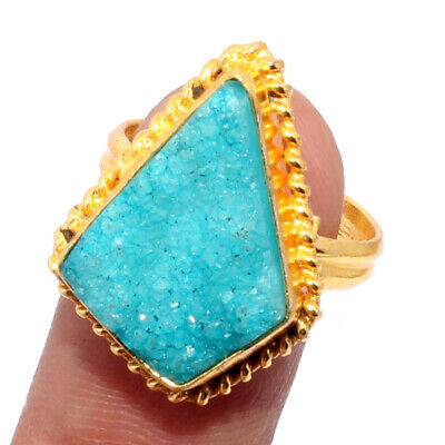 ZK2745 Agate Druzy Gold Plated Ring US 7 Jewelry