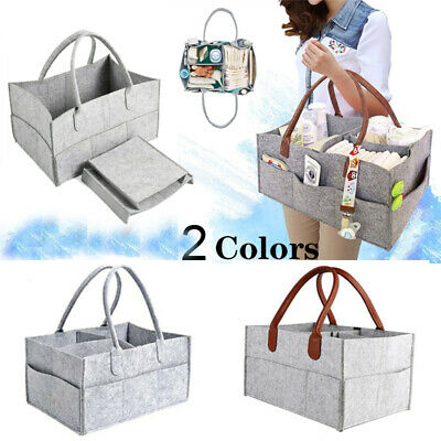 Felt Baby Diaper Caddy Nursery Storage Wipes Bag Nappy Organizer Basket Portable