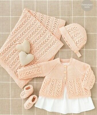 Knitting Pattern Baby BLANKET  copy Matinee Jacket Bonnet Bootees 4 Ply