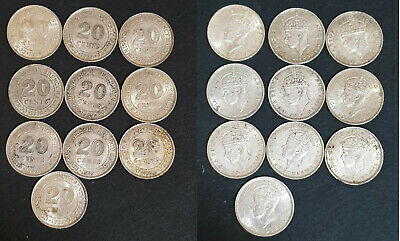 Lot of 10 pcs 1939 Malaya 20 cents silver coins, .750 silver