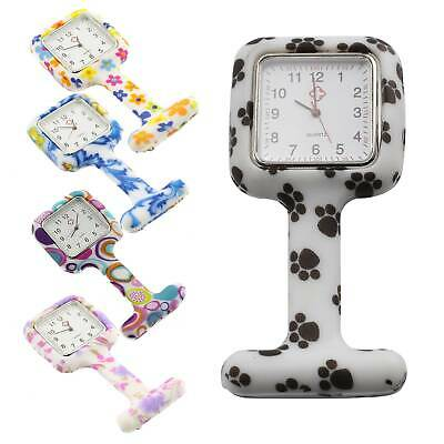 Cozy Square Face Nurse Watch Silicone Brooch Style Fob Watch With Flower Print