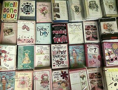 Wholesale Job Lot Assorted Greeting Cards x 100 Female/Male/Ages etc ALL NEW