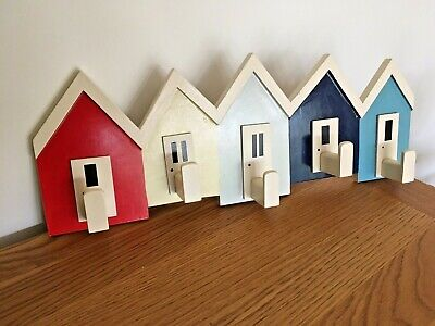 Vintaqe Unusual Hand Made Wooden Painted Beach Huts Nautical Hangers Hooks Rack