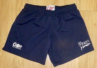 "SALE SHARKS RUGBY-Sports/Rugby/Gym Shorts-Performance Fabric-Logo-NAVY-32""Waist"
