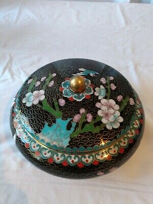 Vintage Chinese Cloisonne Round Box Jar Flowers and bird 7 3/4""
