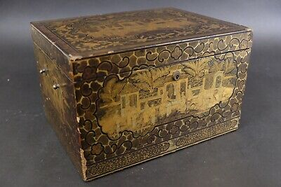 Antique Vintage Wood Gold Laquer Chinoiserie Teabox with Pewter inside 19th C