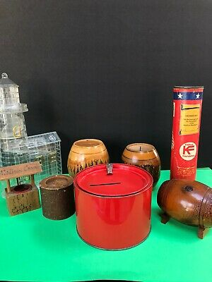 Vintage Promotional Souvenir Coin Bank Lot (8) Plastic, Wood, Metal