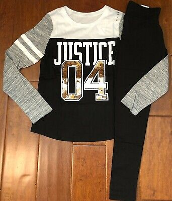 Nwt Justice Girls Size 10 Outfit~Black Sequin Logo Football Tee & Leggings
