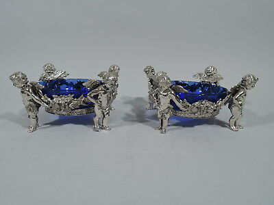 Antique Sweet Meat Dishes - Pair of Rococo Cherub Bowls  German 800 Silver