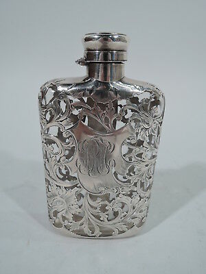 Gorham Flask - S960 - Antique Art Nouveau   American Clear Glass Silver Overlay