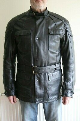"""Spada Berliner Waterproof Black Leather Motorcycle Jacket – Size 44"""" Chest with"""