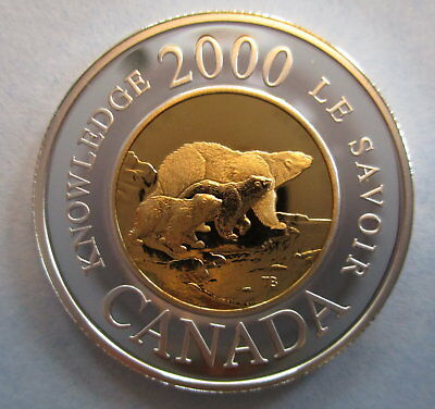 2000 Canada Toonie Knowledge Proof Sterling Silver Two Dollar Coin